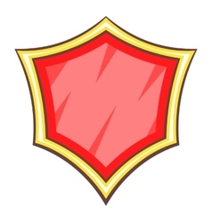 Red blank safety shield icon cartoon style vector