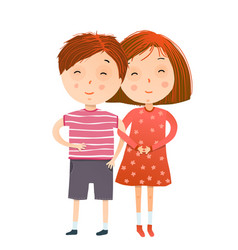 Red head girl and boy holding hands vector