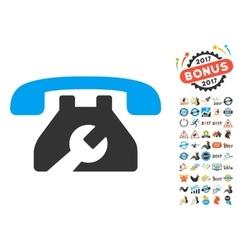 Repair service phone icon with 2017 year bonus vector