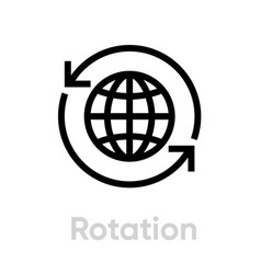Rotation globe icon editable stroke vector