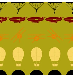 Seamless background with parachute aircraft airs vector