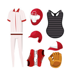 set baseball professional uniform and equipment vector image