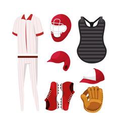 Set baseball professional uniform and equipment vector