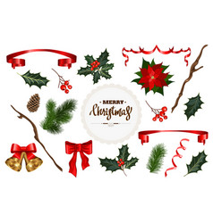 set for christmas decoration vector image