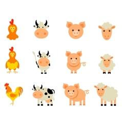 set isolated farm animals vector image