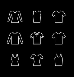 set line icons t-shirt singlet long sleeve vector image