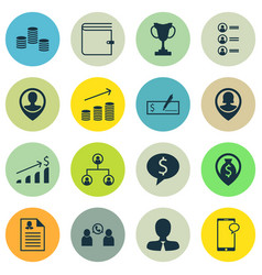 set of 16 management icons includes bank payment vector image