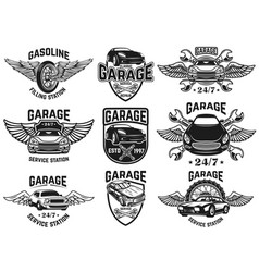 Set of emblems for car repair garage service for vector