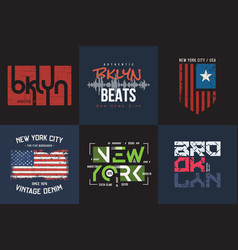 set of six styled new york and brooklyn t vector image