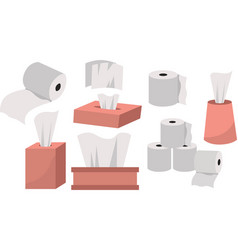 set towels and napkins related toilet paper vector image
