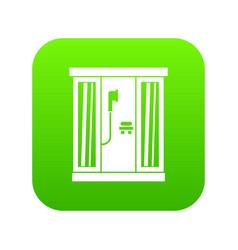 shower cabin icon digital green vector image
