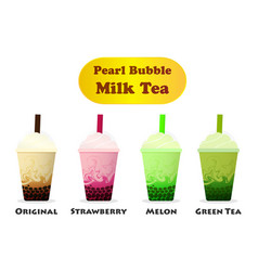 side view pearl bubble milk tea on white vector image