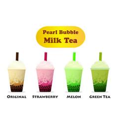Side view pearl bubble milk tea on white vector