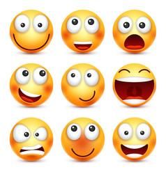 Smiley setsmiling emoticon yellow face vector