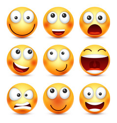 Smiley setsmiling emoticon yellow face with vector