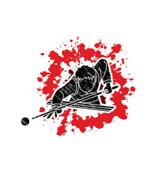 snooker player action cartoon graphic vector image
