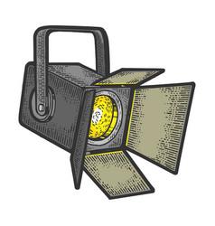 Spotlight projector sketch engraving vector