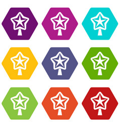 Star for christmass tree icon set color hexahedron vector