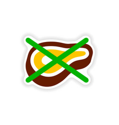 Stylish paper sticker on white background meat ban vector