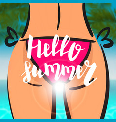 summer time card sexy woman pink bikini vector image