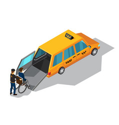 Taxi service for disabilities isometric design vector