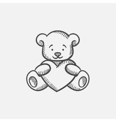 Teddy bear with heart sketch icon vector image