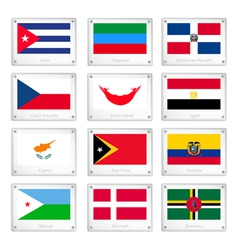 The national flags on metal texture plates vector