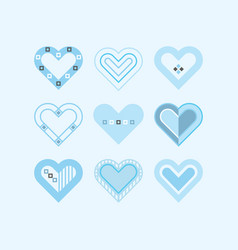 Trendy cute blue color assorted hearts poster vector