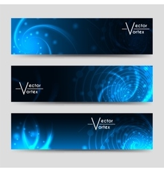 Vortex shine elements horizontal banners set vector image
