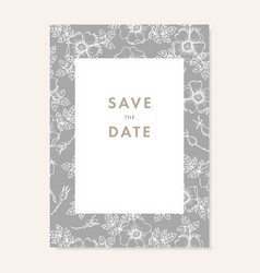 Wedding invitation save date card floral vector