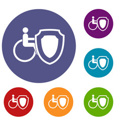 Wheelchair and safety shield icons set vector