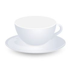 white empty cup mockup on plate design isolated vector image