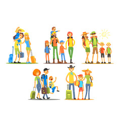 young families going on vacation travelers vector image