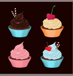 cupcakes set of tasty cupcakes with cream vector image vector image