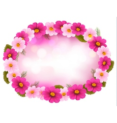Holiday frame with colorful flowers vector image