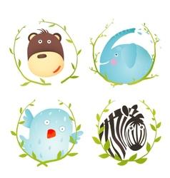 Monkey Zebra Elephant Bird Funny Cartoon Portraits vector image vector image