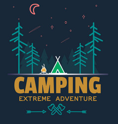 outdoor camping and adventure forest badge logo vector image