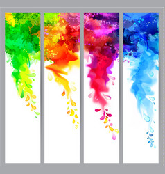 set of four banners abstract headers with colored vector image