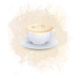 white cup with coffee drink on a abstract vector image vector image