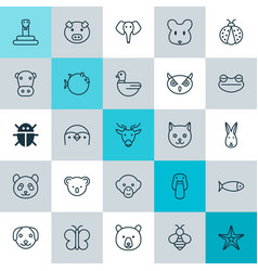 zoology icons set collection of bunny duck rat vector image