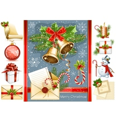 Big collection of Christmas objects vector image