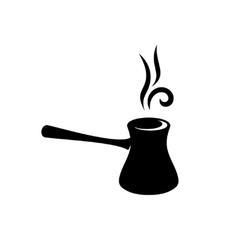 Cezve turkish coffee black silhouette vector image vector image