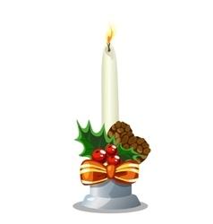 Christmas white burning candle holiday decoration vector image