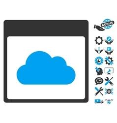 Cloud Calendar Page Icon With Bonus vector image vector image