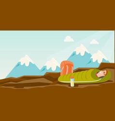 Man sleeping in a sleeping bag in the mountains vector