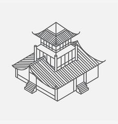 outline isometric pagoda house chinese landmark vector image