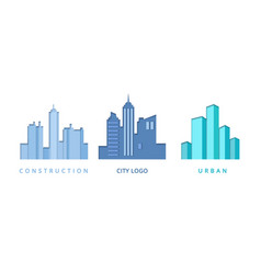 Paper cut out logo set with city buildings vector