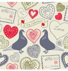 Vintage Love Birds Valentines Card vector image vector image