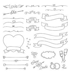 wedding vintage set of design elements vector image