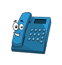 Cartoon blue landline telephone vector image